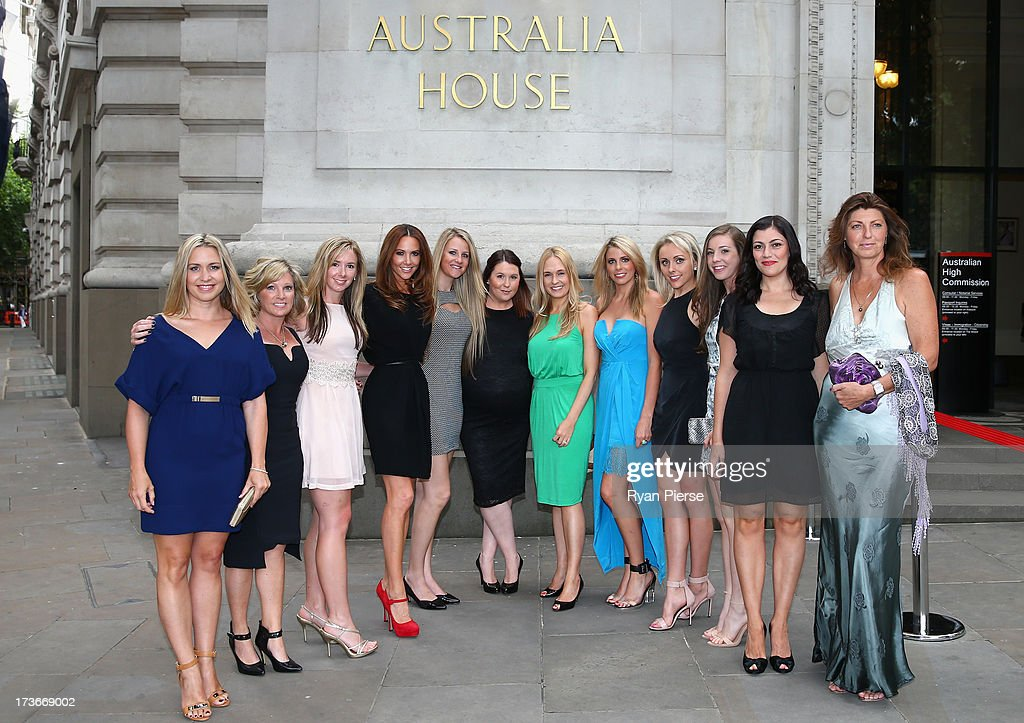 The wives and partners of Australian players and officials pose outside the Australian Cricket Team visit to the Australian High Commision on July 16, 2013 in London, England.