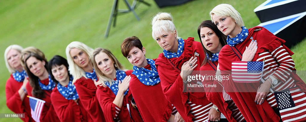 The wives of the USA PGA Cup team pictured during the National anthems during the opening ceremony ahead of the 26th PGA Cup at De Vere Slaley Hall on September 19, 2013 in Hexham, England.