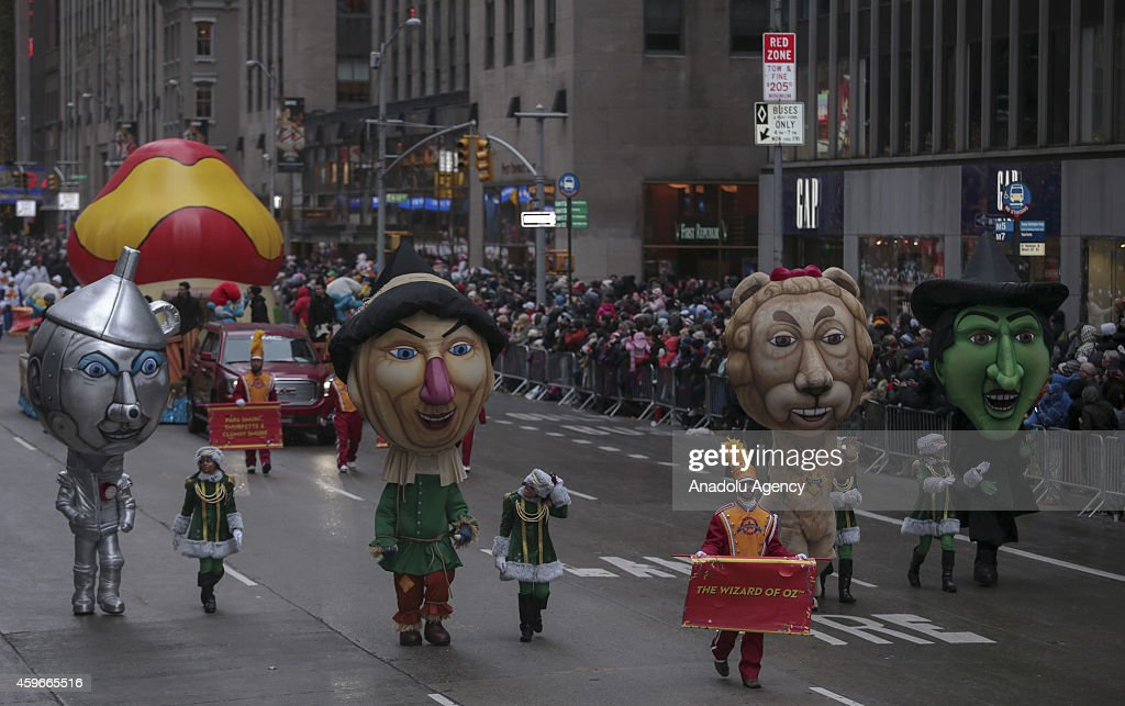 'The Wizard of Oz' characters attend the 88th Annual Thanksgiving Day Parade outside Macy's Department Store in Herald Square on November 27, 2014 in New York City.