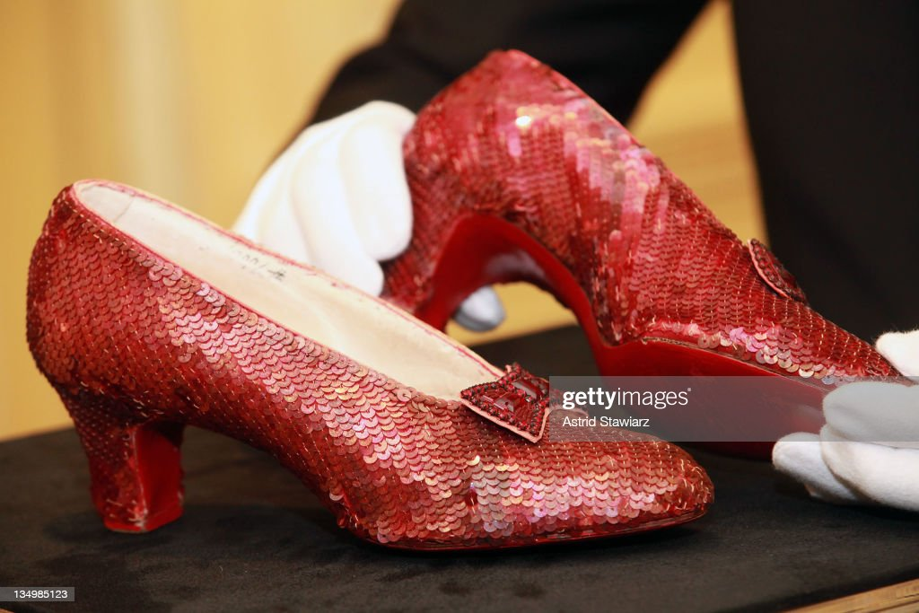 'The Wizard of Oz' Ruby Red Slippers worn by Judy Garland in 1939 are displayed at a viewing at the Plaza Athenee on December 5, 2011 in New York City. 'The Wizard of Oz' Ruby Red slippers are a women's size 5 and appraised at $3 million dollars.