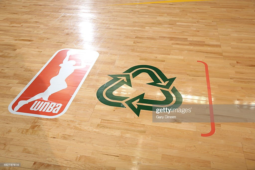 The WNBA and Green Week logo is shown before the game between the Chicago Sky and the Indiana Fever on July 22, 2014 at the Allstate Arena in Rosemont, Illinois.