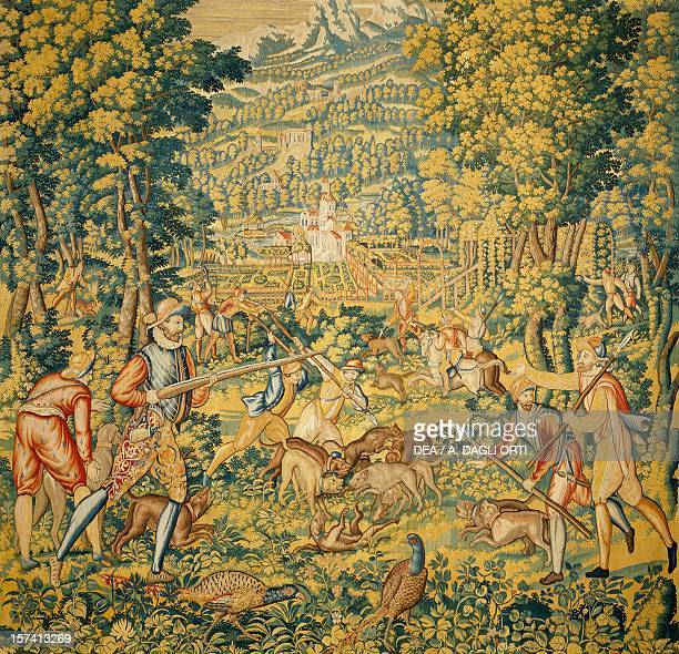 The wolf hunt late 16th century Flemish tapestry from cartoons by Cornelius Mattens Brussels manufacture Belgium 16th century Correggio Museo Civico...