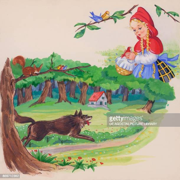 The wolf running to the grandmother's house while Little Red Riding Hood plays with birds illustration for the European fairy tale Little Red Riding...
