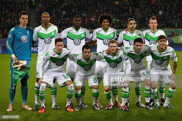 The Wolfsburg team pose for the cameras prior to kickoff during the UEFA Champions League group B match between VfL Wolfsburg and Manchester United...