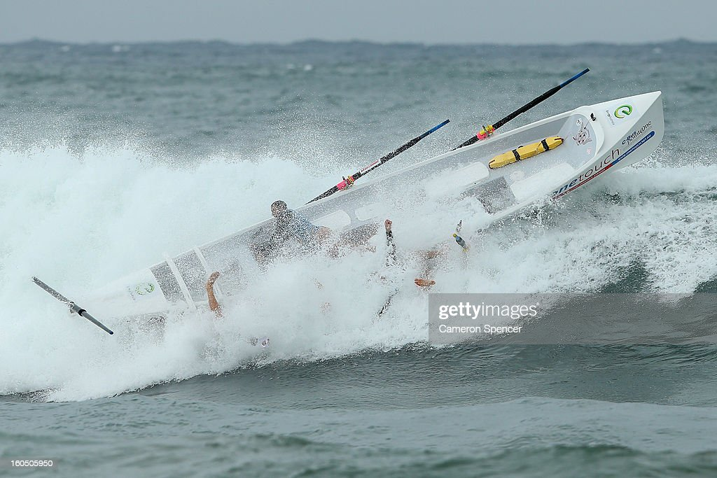 The Wollongong City suf life saving crew lose control of their boat during the Ocean Thunder Surf Boat Series at Dee Why Beach on February 2, 2013 in Sydney, Australia.