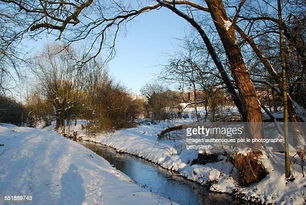 The Woluwe brook under snow