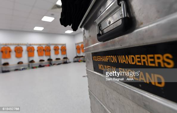 The Wolverhampton Wanderers box transporting the shirt in the away dressing room before kick off prior to the Sky Bet Championship match between...
