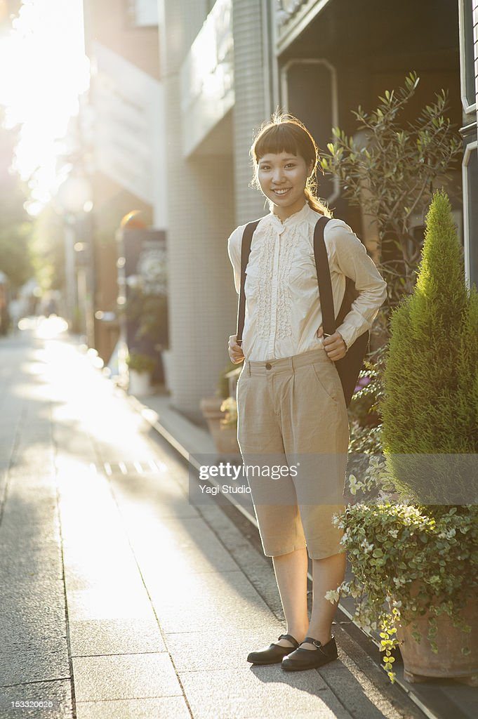 The woman standing in downtown,Kyoto : Stock Photo
