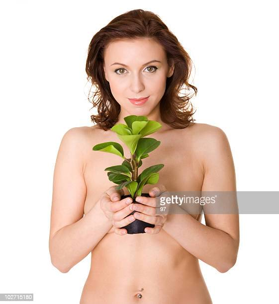 The woman with a plant