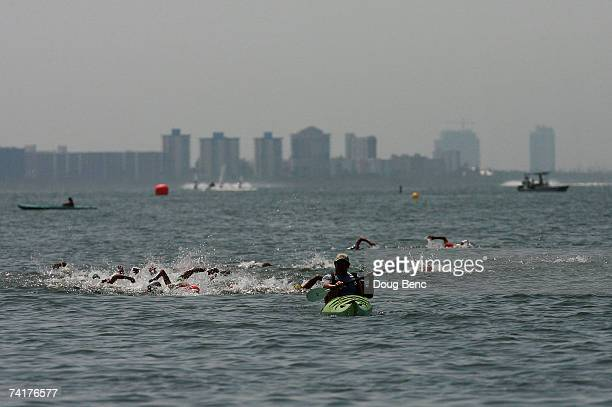 The women follow the lead kayak on the first lap during the 2007 USA Swimming 5K Open Water National Championship on May 17 2007 in Fort Meyers Beach...