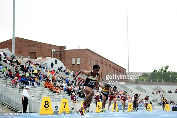 The women's 200 meter race gets off to a fast start during the Division I Men's and Women's Outdoor Track and Field Championship held at the Drake...