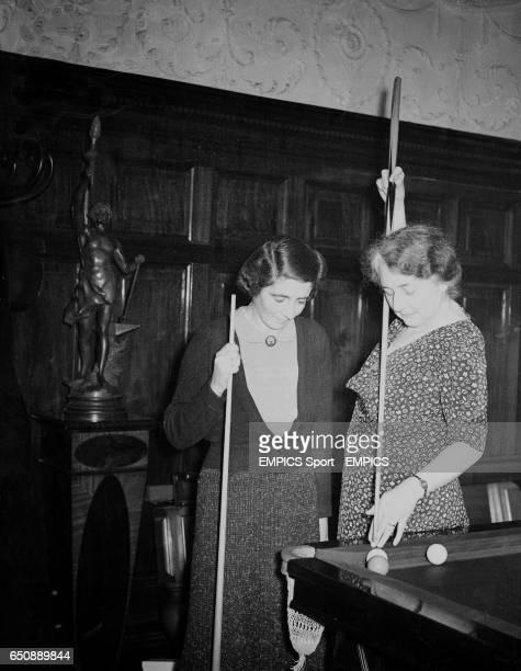 The Women's Billiard Championship has commenced at Burroughs Watts Hall in Soho Square London Picture shows Mrs V McDougall of London the champion...