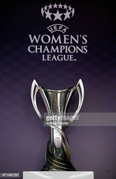 The Women's Champions League trophy on display outside the stadium prior to the Premier League match between Swansea City and Stoke City at The...