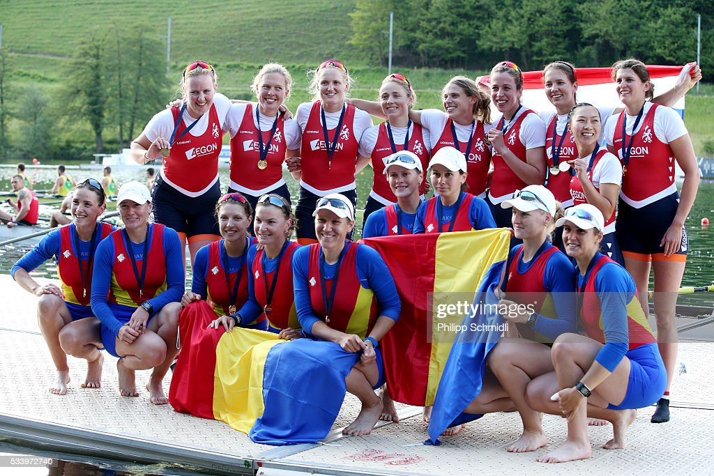 The Women's Eight teams of Romania (bottom) and the Netherlands celebrate after qualifying for the 2016 Summer Olympic Games in Rio during Day 3 of the 2016 FISA European And Final Olympic Qualification Regatta at Rotsee on May 24, 2016 in Lucerne, Switzerland.