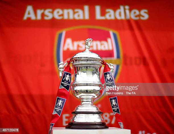 The women's FA Cup trophy on show at the the FA WSL match between Arsenal Ladies and Everton Ladies at Meadow Park on October 12 2014 in Borehamwood...