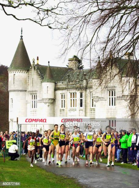 The women's five mile race starts at the Balmoral Road Races in the grounds of Balmoral Castle Royal Deeside Scotland