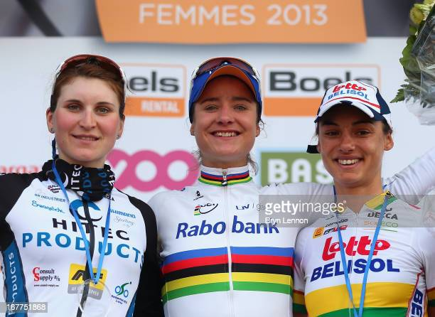 The women's Fleche Wallone podium Elisa Longo Borghini of Italy and Hitec Products Marianne Vos of the Netherlands and Rabo Women and Ashleigh...