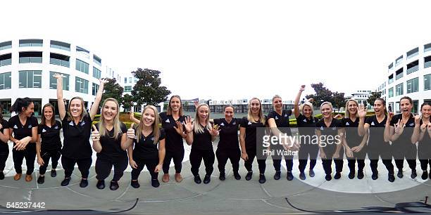 The Womens Hockey team pose for a team photo during the New Zealand Olympic Games women's hockey team announcement on July 7 2016 in Auckland New...