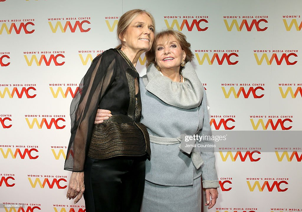 The Women's Media Center cofounder Gloria Steinem and Honoree Barbara Walters attend the 2014 Women's Media Awards at Capitale on October 29 2014 in...