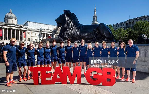The women's rugby 7s team pose for a photo during the announcement of Rugby 7's athletes named in Team GB for the Rio 2016 Olympic Games on July 19...