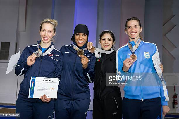 The Women's Sabre medalists from left to right Marial Zagunis United States Silver Medal Ibtihaj Muhammad United States Gold Medal Maria Belen Perez...