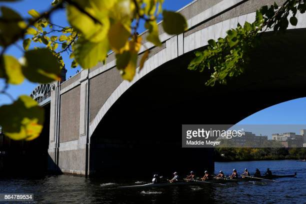 The Women's Senior Master Eights team from Litchfield Hills Rowing Club during the Head of the Charles Regatta on October 21 2017 in Boston...