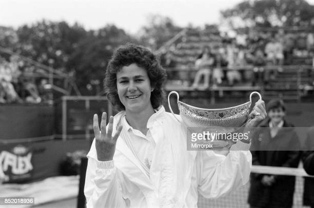 The Women's Singles final of the Dow Chemical Classic Tennis Tournament at the Edgbaston Priory Club pictured winner Pam Shriver with the trophy 14th...