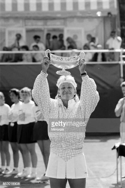The Women's Singles final of the Dow Classic Tennis Tournament at the Edgbaston Priory Club pictured Martina Navratilova with the trophy she wins the...