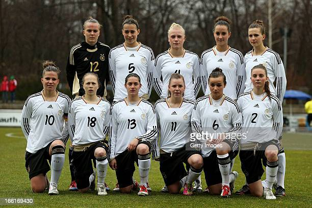 The women's U19 national team of Germany pose for photos prior to the Women's UEFA U19 Euro Qualification match between U19 Czech Republic and U19...