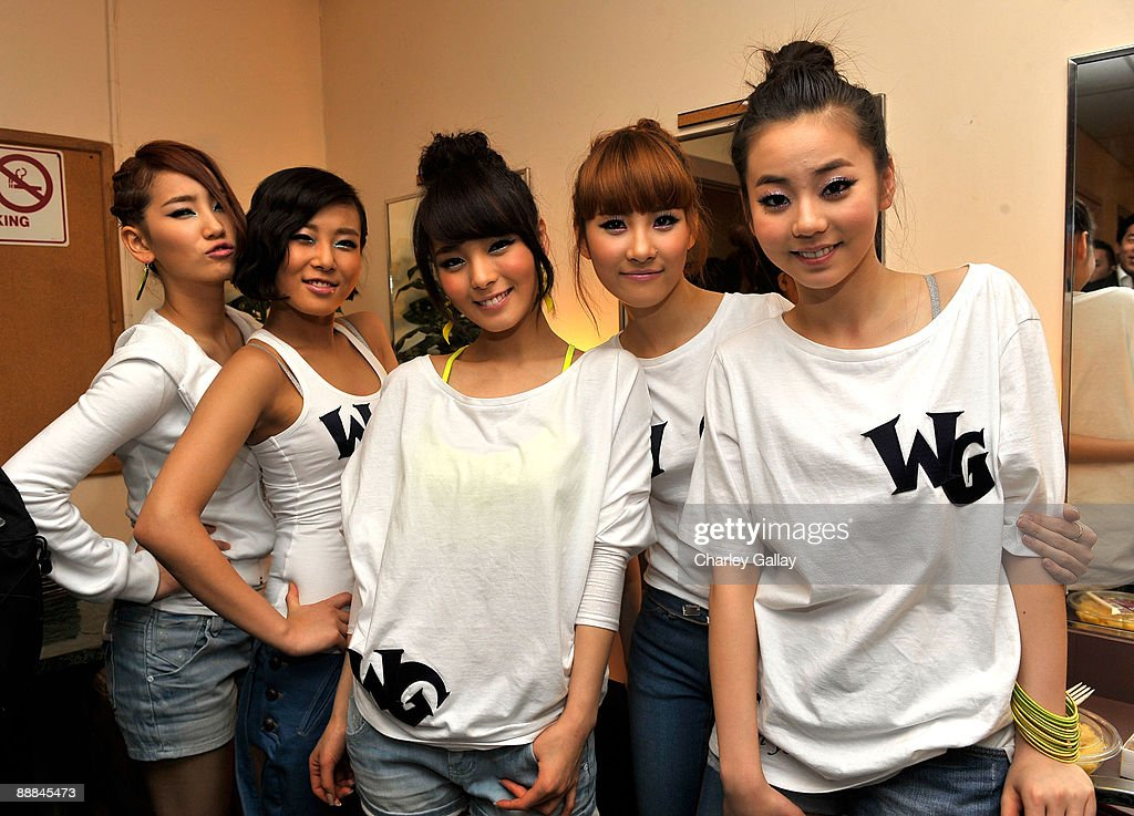 The Wonder Girls pose backstage after performing at the Wiltern theater on March 5 2009 in Los Angeles California