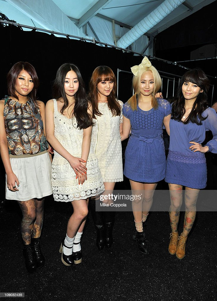 The Wonder Girls pose backstage at the Vivienne Tam Fall 2011 fashion show during MercedesBenz Fashion Week at The Theatre at Lincoln Center on...