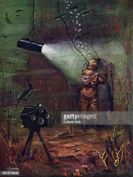 The Wonders of Modern UnderWater Salvage Colour Illustration by G H Davis Caption reads 'A diver at work under sea with acetylene blow lamp...