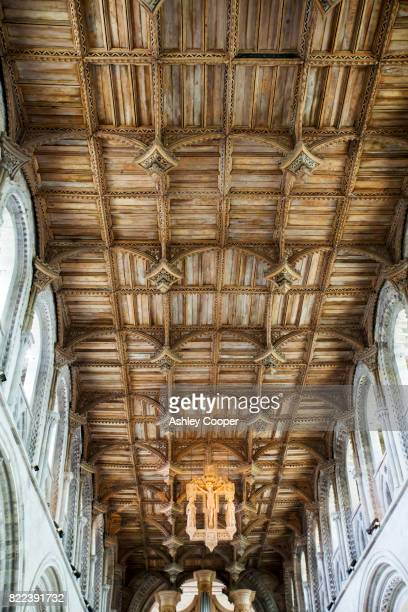 The wood pannelled ceiling in St Davids Cathedral in St Davids, Pembrokeshire, Wales, UK.