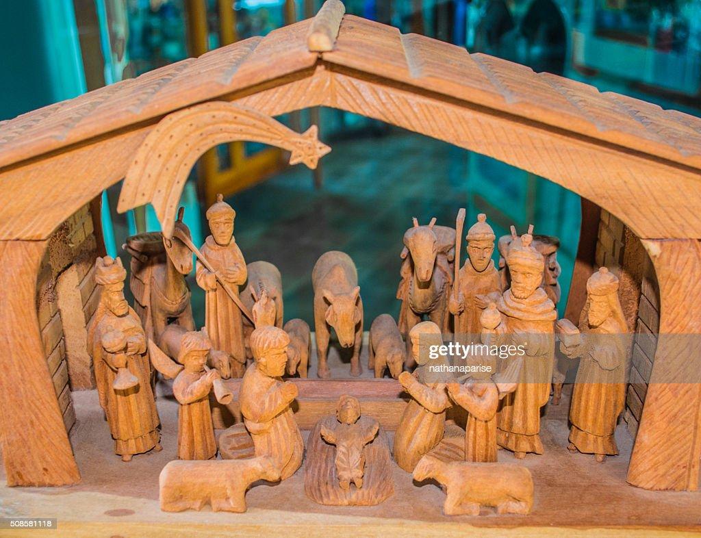 The wooden Nativity : Stock Photo