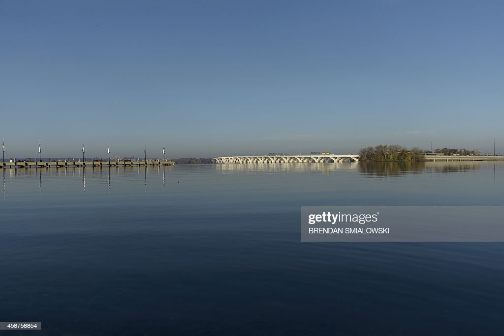 The Woodrow Wilson Memorial Bridge connecting Viginia and Maryland over the Potomac River is seen November 10 2014 from National Harbor Maryland AFP...