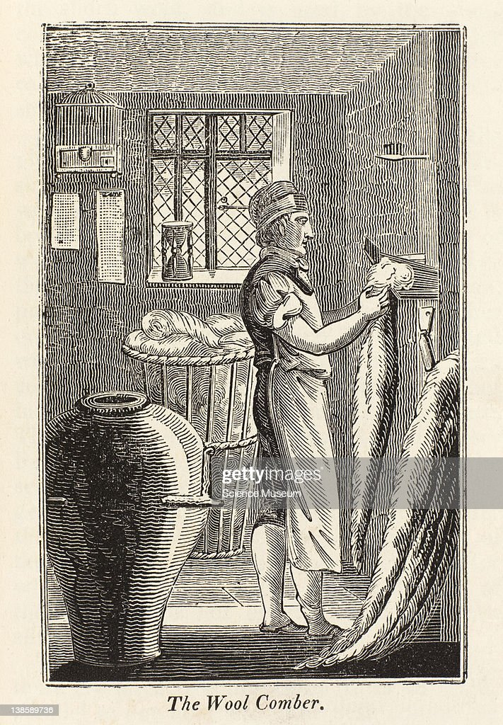 The woolcomber cleanses and prepares wool in a proper state to be spun into worsted yarn c for weaving and other purposes