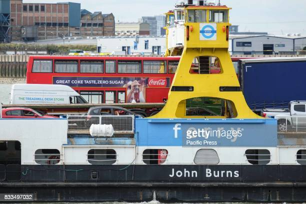 The Woolwich Ferrys are seen on a fine and warm day in South East London The Ferry is free and is operated by Briggs Marine and Environmental on...