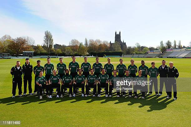 The Worcestershire CCC 2011 squad pose for a team photograph in their One Day kit during a photocall at New Road on April 7 2011 in Worcester England