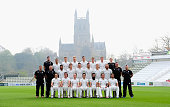 The Worcestershire first team squad pictured with the famous Worcester cathedral in the background at the Worcestershire County Cricket photocall...
