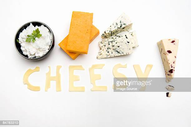 The word cheesy made out of cheese