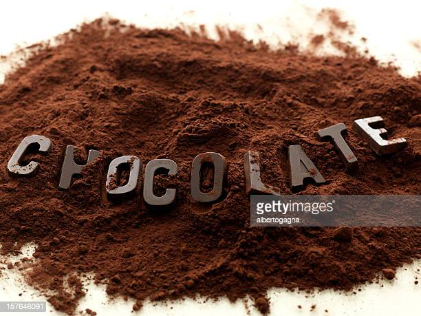 The word chocolate made of chocolate on cocoa powder