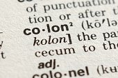 Close-up of The Word Colon in a Dictionary