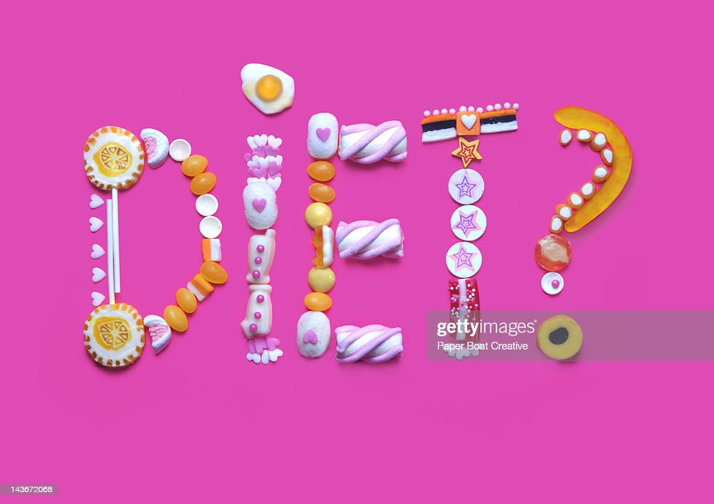 The word diet written from gummy candy and sweets : Stock Photo