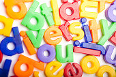 The word diversity in colorful letters. Close up colorful alphabet letters on a white background. Letters lying down and ordered in a word.