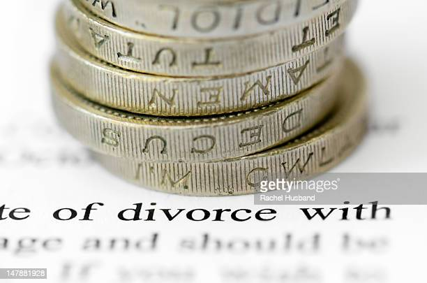 The word divorce highlighted with sterling money