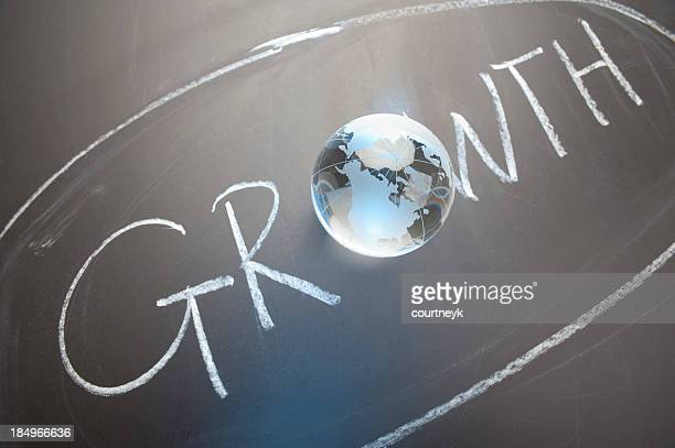 The word growth contains a globe