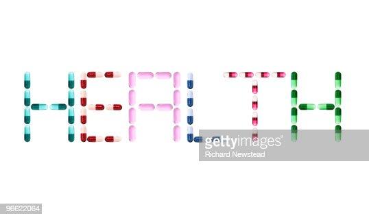 The word 'Health' written in pills : Foto de stock