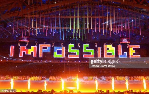 The word 'Impossible' is spelt using Tetris tiles during the Sochi 2014 Paralympic Winter Games Closing Ceremony at Fisht Olympic Stadium on March 16...