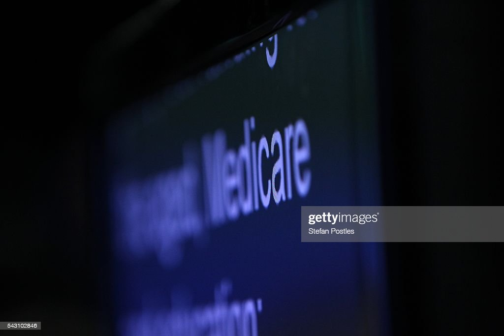The word Medicare as seen on the Prime Minister Malcolm Turnbull's teleprompter during his speech at the Liberal Party 2016 Federal Campaign Launch on June 26, 2016 in Sydney, Australia. Malcolm Turnbull's speech centred on the importance of the economic plan and stability, especially in the wake of Brexit.