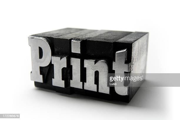 The word PRINT  - Printing blocks